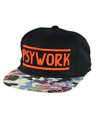 PSYWORK Schwarzlicht Black Cap Neon Camouflage, Orange - Orange Camouflage Cap