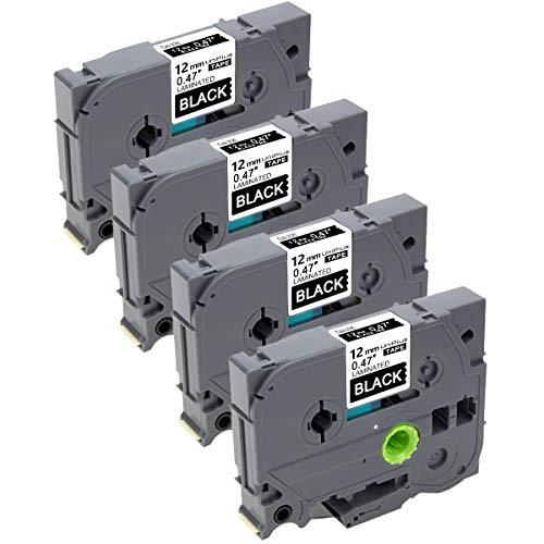 UniPlus 4x Tze-335 Tze335 Tze 12 mm Nastro Laminato, Nastri per Etichette, Compatibile per Brother P-Touch GL-H100 PT H100LB H101C P700 E100 D600VP D400VP D400,12mm x 8m, Bianco su Nero