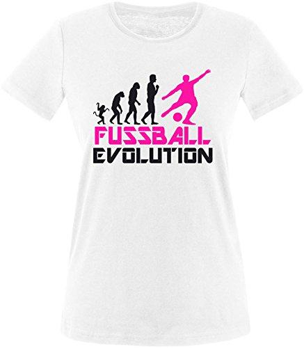 EZYshirt® Fussball Evolution Damen Rundhals T-Shirt Weiss/Schwarz/Pink
