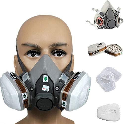 Coomir 7 en 1 Traje de Media mascarilla para 3M 6200 respirador de Gas Pintura protección respirador