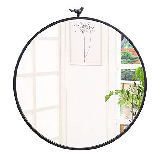 Zeitgenössische runde Metallrahmen Wand montiert Spiegel mit Vogel, Make-up Rasierspiegel Spiegel für Eingänge, Waschräume, Wohnzimmer, Inneneinrichtungen, in Gold und Schwarz -