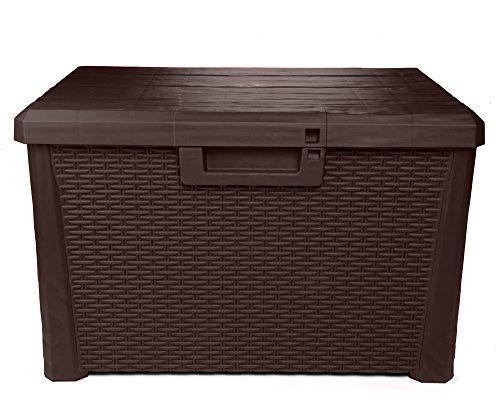 Ondis24 Kissenbox Nevada kompakt Auflagenbox Gartenbox Allzweckbox Sitztruhe 120 Liter (braun)