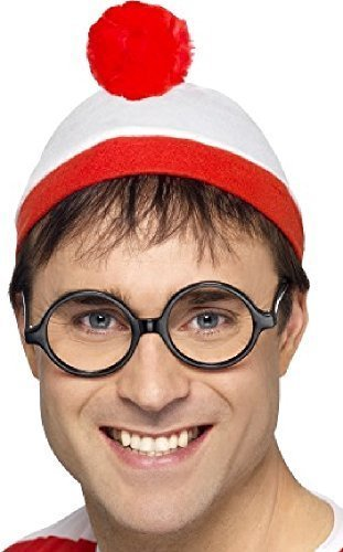 Fancy Me Herren Wheres Wally Waldo offiziell lizenziert Hut Brille TV Film Welttag des buches-tage-woche Kostüm Kleid Outfit Satz (Waldo Kostüm Zubehör)