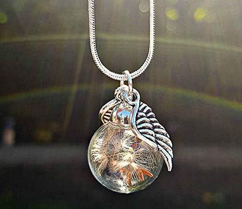 Dente di leone Ali d'angelo collana pendente in Argento sterling 925 con CONFEZIONE REGALO tarassaco fiore gioielli ciondolo personalizzato Angelo custode Regalo per la festa della mamma