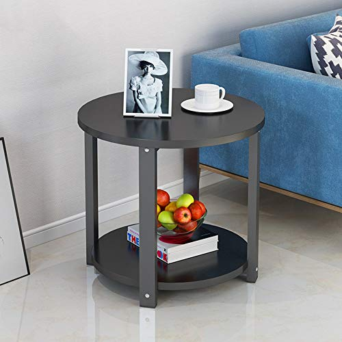 Table d'appoint magazine en finition chêne clair | Support de papier de table/café/lampe/bout/stockage en bois massif (Color : Black-50cm)