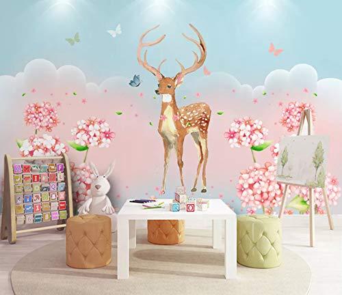 VVBIHUAING 3D Wandbilder Aufkleber Wand Dekorationen Tapete Cartoon Kitz Blumen Wohnzimmer Kunst Kinderzimmer (W) 250x(H) 175cm