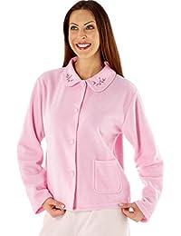 a3dd60d896 Lady Selena Soft Fleece Warm Traditional Button Bed Jacket LN471