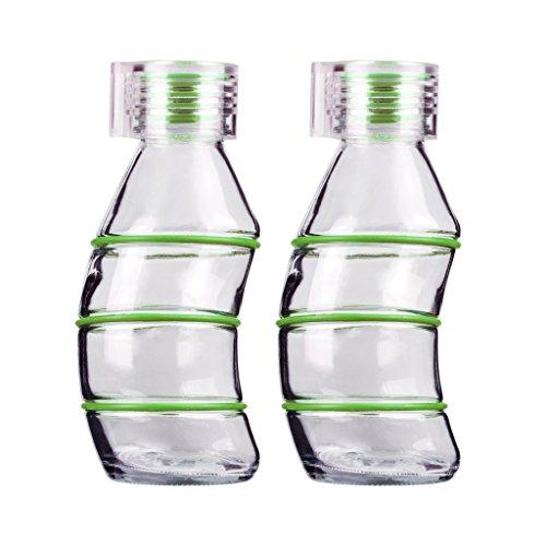 bogen Glas ist wiederverwendbar 100% recycelbar-Funky Design mit klarer Deckel & Passende Silikon Stopper von Consol, grün ()