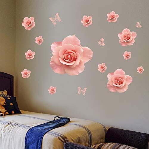 hfwh Wandaufkleber, Große Rote Rose, Rosa, Liebe Rose, Wand-dekor, DIY, PVC, Abnehmbar, Bunt, Wandbild rosa (Sie Den Um Infinity-wandtattoos Lieben,)