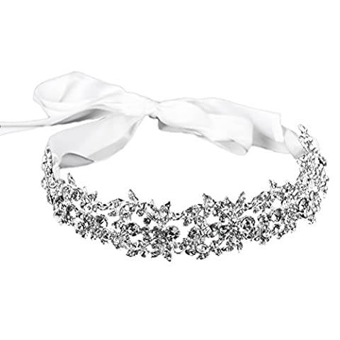 Frcolor Bridal Handmade Luxe Rhinestone Wedding Party Hairband Bande de cheveux Austrian Crystal Floral Leaf with Ribbon Tie Band