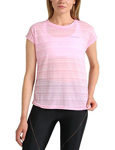 Ultrasport Endurance T-Shirt Skegness für Damen Top mit Rundhalsausschnitt und Ringelmuster aus Jersey, Damen Basic, Prism Pink, 38 - Prism Pink Bekleidung