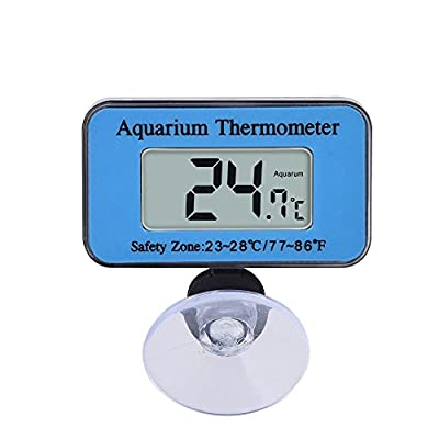 SupplyEU Waterproof Digital LCD Aquarium Thermometer Marine Vivarium Thermometer with the suction cup Temperature Range -10??C to 50 ??C Ideal for Fish Tank(Blue)