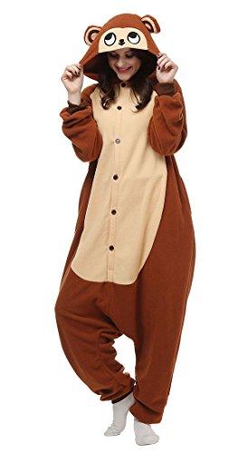 Aivtalk Tier Pyjamas Kostüm Jumpsuit Schlafanzug Erwachsene Unisex Cartoon Fleece Sleepsuit Pyjama Fasching Karneval Cosplay Tieroutfit Tierkostüme - Braun Affe