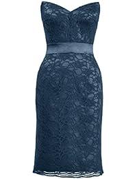 Alicepub Damen Illusion Ausschnitt Cocktailkleid Knielang 2017 Midi Elegant  Brautjungfernkleid Spitze Abendkleider Ohne Arm Kurz Abendmode a17f2875df
