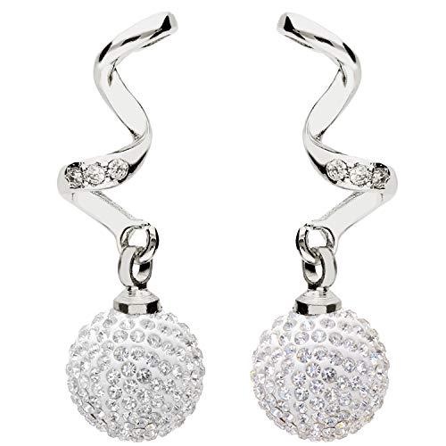 MYA Art Damen Perlenohrringe Ohrstecker Ohrringe Hängend Ohrhänger 925 Sterling Silber Spirale mit Perlen Swarovski Elements Glitzer 10mm MYASIOHR-120