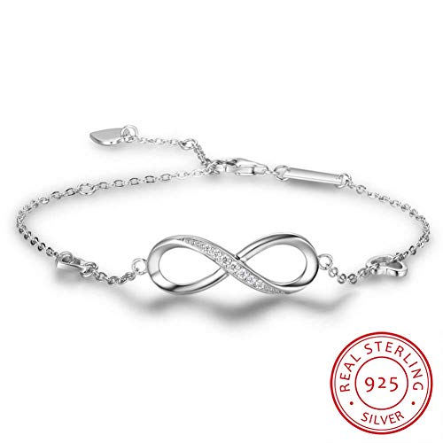 MHOOOA Luxury Brand Solid 925 Sterling Silver Infinity Charm Bracelet for Women Link Chain Bracelet Bangle Authentic Jewelry