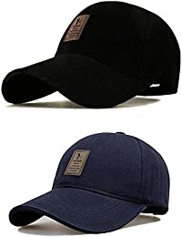 SHVAS Combo of Black & Blue Cotton Baseball Adjustable EDIKO Cap for Men/Women Unisex Baseball Cap [EDIKOBLUBLACK]