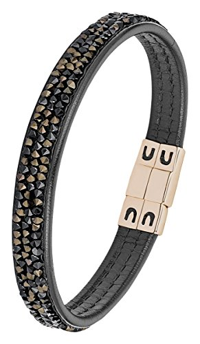 s.Oliver Damen-Armband Swarovksi Elements Edelstahl Leder Kristall braun 18.5 cm-2012573