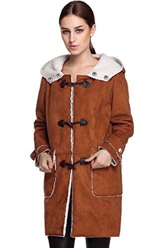 ZEARO Mantel Damen Winterjacken lange feste Fleece Kapuzenmantel Tops Outerwear Braun