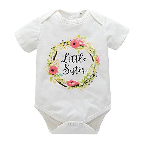 Wongfon Kinder Baby Große Schwester T-Shirt Kleine Schwester Strampler Passende Kleidung Outfit Brüder und Schwestern Kleidung Set für 0-7 Jahre (Shirt Mädchen Kleine)