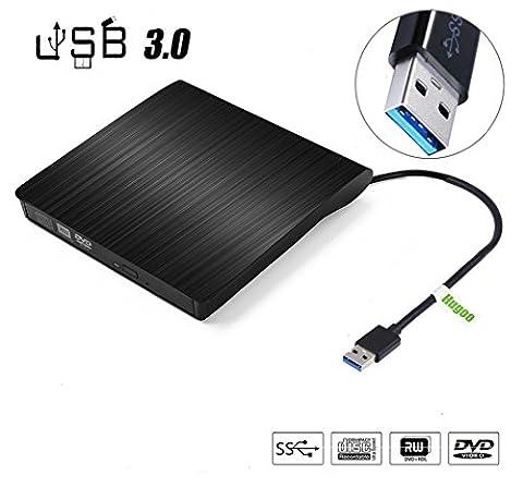 External DVD Laufwerk,Hugoo USB 3.0 Externe DVD-RW DVD CD Brenner Laufwerk Burner Drive Superdrive für Apple MacBook Pro, Air and iMac, Windows 2000/XP/Vista/7/8/8.1 ,PC und Laptops/Desktop mit USB-Ports -Schwarz
