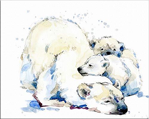 """7Dots Art. Mama Baby. Aquarell-Kunstdruck/Poster, 20,3 x 25,4 cm, Dickes Aquarellpapier, für Kinderzimmer, Schlafzimmer, Bad. Wanddekoration, Tiere für Jungen und Mädchen. Modern 8""""x10"""" Polar Bear2"""