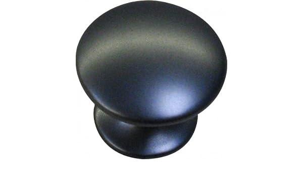 Lot de 2 boutons de portes et tiroir de meuble en zamak noir satin /Ø 30mm ROND