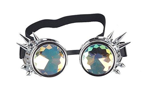AFUT Radioaktive Kaleidoskop Brille Steampunk Kristallprisma Silber Rahmen
