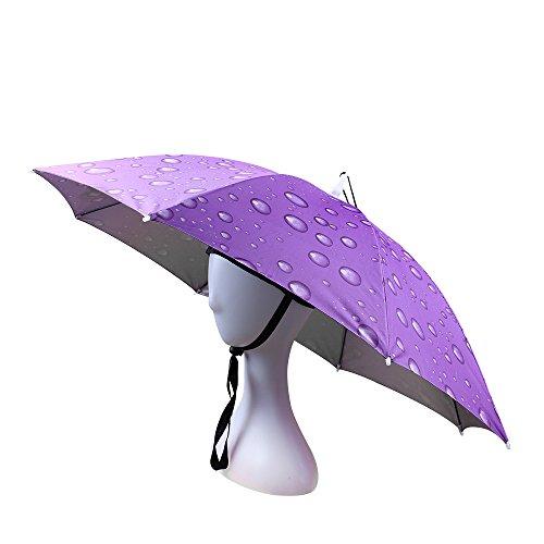Kostüm Bunte Halloween Zu - JANGANNSA Angelschirm Regenschirm, faltbar, verstellbare Kopfbedeckung Large violett