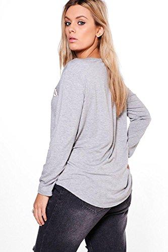 gris Femmes Plus Fiona T-shirt Manches Longues Imprimé Groupe Gris