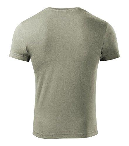T-Shirt für Herren Shirt Slim Fit V-neck 100% Baumwolle - Größe und Farbe wählbar - Hell Khaki