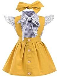 bc688d3f061a EDOTON Baby T-Shirt Strap Dress Christmas Outfits 2Pcs Set Toddler Girl  Long Short Sleeve Ruffle Top…