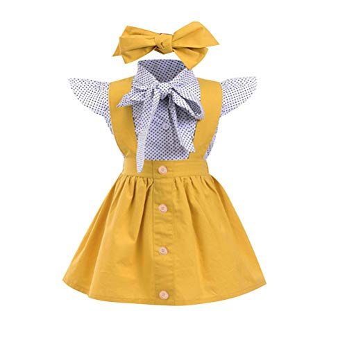 Baby T-Shirt Strap Kleid Weihnachten Outfits 2 Teile/Satz Kleinkind Mädchen Langarm Rüschen Top Overall Plaid Rock Kleidung Set (3-4 Jahre) (6-9 Monate, Gelb)