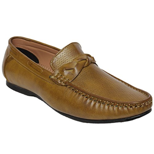 Latest Fashion Stylish Combat Leather Loafers & Moccasins Shoes Out Door Casual Foot Wear For Boy/Boys/Boy's/Men/Mens/Men's Tan Colour Size 9