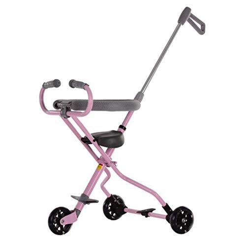 Faltbares Baby-Trike mit Griff Leichtes Kleinkind-Dreirad mit Bremse für Kinder von 1 bis 6 Jahren, Handgepäck für Flugzeug, Zug und Kofferraum (Rosa/Blau/Schwarz)