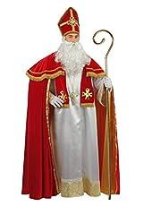 Idea Regalo - chiber Disfraces Costume San Nicola di Bari Mantello Rosso Super Lusso