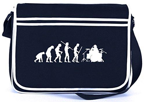 Shirtstreet24, EVOLUTION DRUMMER, Schlagzeuger Retro Messenger Bag Kuriertasche Umhängetasche , Größe: onesize,Navy
