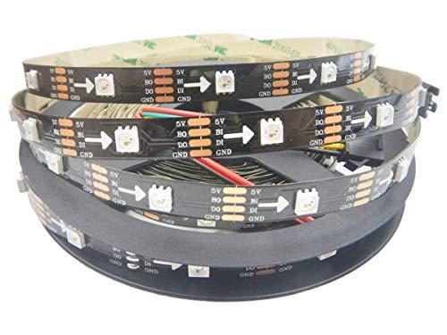 WS2813 Pixels Led Tira, 16.4ft 150 Leds WS2813 (actualizado WS2812B) Directamente accesible Dream Color 5050 RGB Flexible Luz de Tira Doble señal Cables 5V DC (No impermeable Negro PCB)