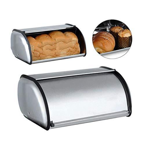 JANDH Brotkasten im Retro Design aus Metall Brotbox Brot Aufbewahrungsbox Rollbrotkasten hält Brot und Brötchen länger frisch EIN optisches Highlight in jeder Küche