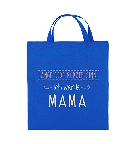 Comedy Bags - Lange Rede kurzer Sinn, ich werde Mama. - Jutebeutel - kurze Henkel - 38x42cm - Farbe: Schwarz / Weiss-Neongrün Royalblau / Rosa-Beige