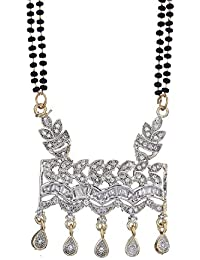 Zeneme Women's Pride American Diamond Gold Plated Mangalsutra Pendant With Chain And Earrings Jewellery For Women - B06Y467139