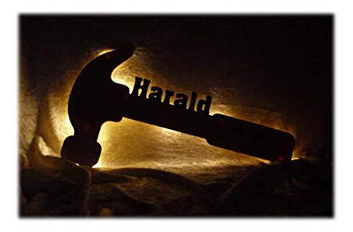 """Schlummerlicht24 3d Led Nachtlicht\""""Zimmermann Dachdecker Hammer\"""" mit Name für Väter Vater, witzige Mann Männer Geschenke für Handwerker, Heimwerker als personalisierte Deko Lampe"""