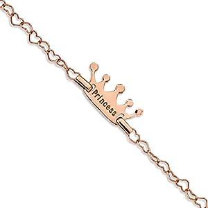 9,15mm Sterling Silber Kinder rose-tone Prinzessin Krone Herz Link Armband–15cm