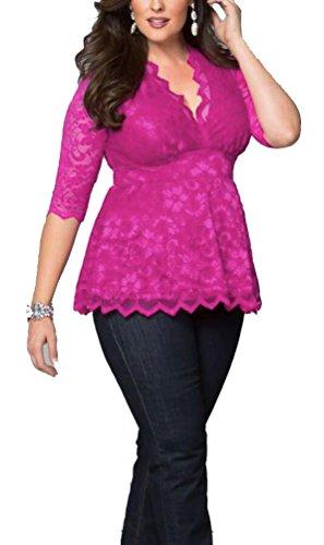 Brinny Plus Size Blusen Damen t-Shirt V-Ausschnitt 3/4 Arm Spitze Übergrößen Elastisch Top Rosa
