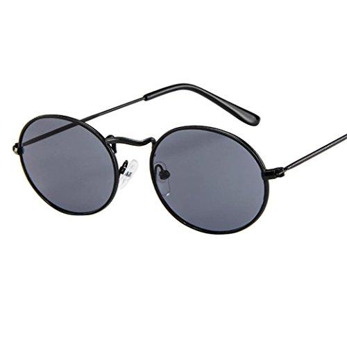 Dragon868 Herren Damen Vintage Retro ovale Sonnenbrille Ellipse Metallrahmen Brille Trendy Shades (A)