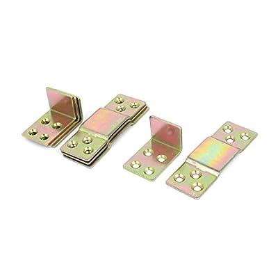 sourcingmap® Wood Bed Rail Metal Bracket Fastener Fitting Bronze Tone 4 Sets