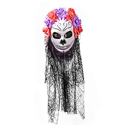 Amosfun Halloween Tag der Toten Schleier Maske Horror Tod schädel Party Schleier Kopfbedeckung Maske Party Prop