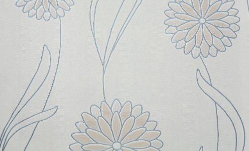 Muster-Vinyl-tapete mit Blumenmuster spaltbar in weiß, beige, silber -