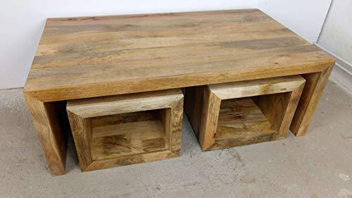 Indoortrend.com Set de Table Basse en Bois Massif avec 4 tabourets Massif Design Table Lounge Table de Salon