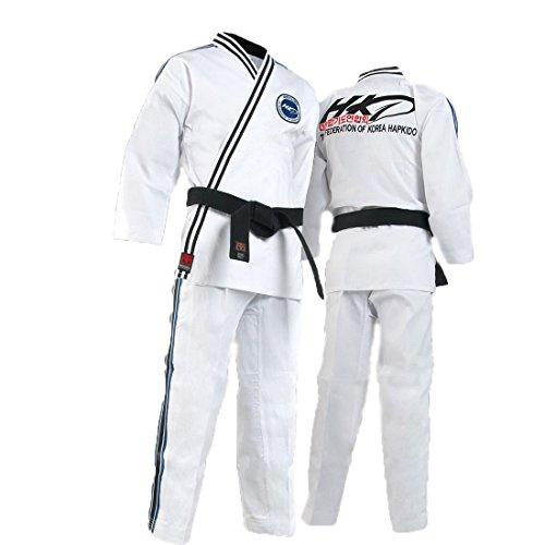 Mooto Uniforme de la federación Hapkido de Corea para Hombre 160 (US2) (4.92-5.24ft o 150-160cm) Negro